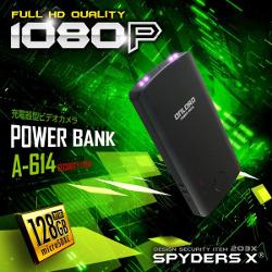 A-614/充電器型カメラ/長時間録画15時間/大容量SDXC128GB対応/9600mAhの大容量バッテリーでスマホの充電もできる